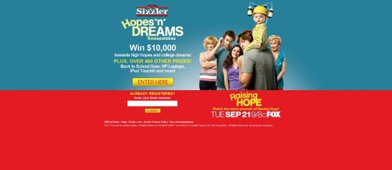 winsomehope.com – Sizzler Hopes 'n' Dreams Sweepstakes