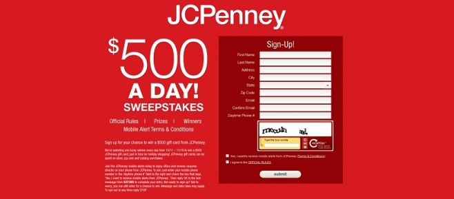 J. C. Penney $500 a Day Sweepstakes