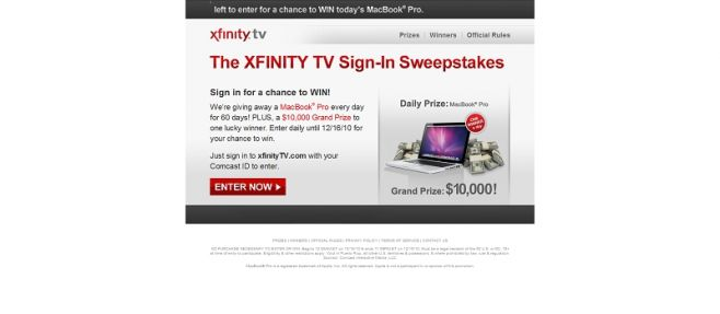 xfinitysweepstakes.com – XFINITY TV Sign-In Sweepstakes