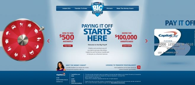 capitalonebigpayoff.com – Capital One Big Payoff Sweepstakes and Game