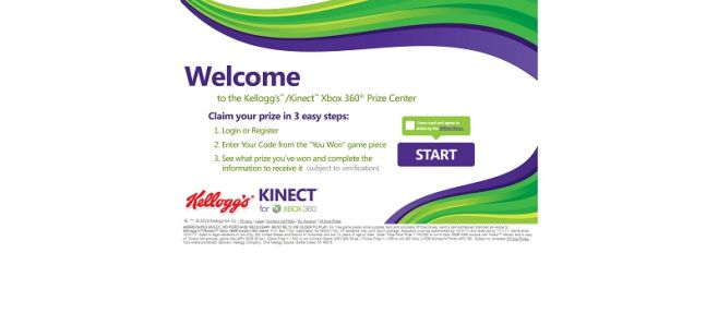 kelloggs.com/KinectXbox360 – Kellogg's Kinect Xbox 360 Instant Win Game