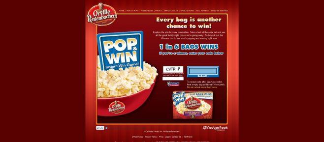 orville.com/popandwin – Orville Redenbacher's Pop & Win Instant Win Game