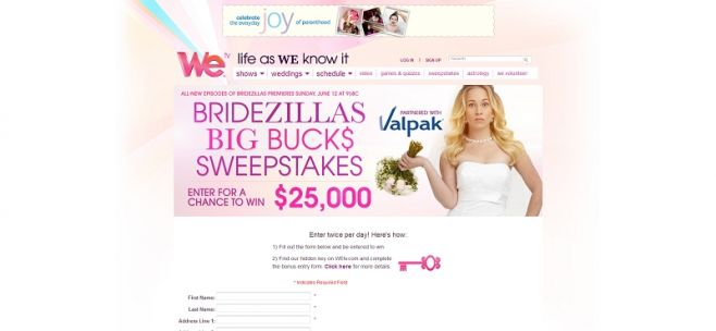 Bridezillas Big Bucks Sweepstakes