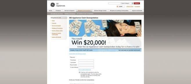 GE Appliance Cash Sweepstakes