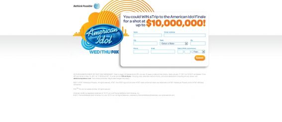 attidolsweepstakes.com – AT&T $10,000,000 Idol Sweepstakes