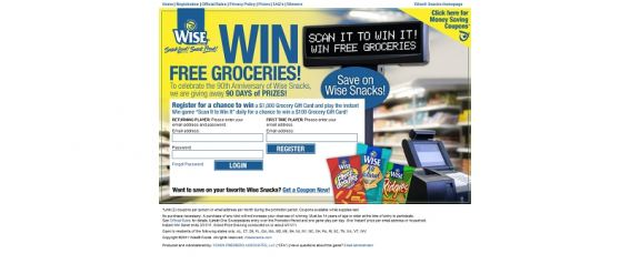 Wisesnacks.com/winit – Wise Scan It to Win It Sweepstakes and Instant Win Game