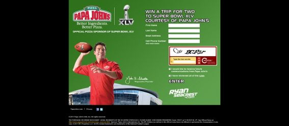 Papa John's Super Bowl XLV Ticket Sweepstakes