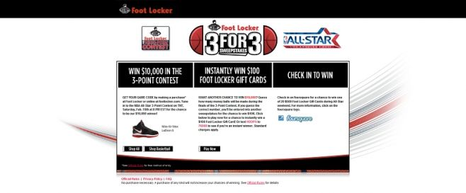 footlocker.com/3for3 – Foot Locker 3 For 3 Sweepstakes