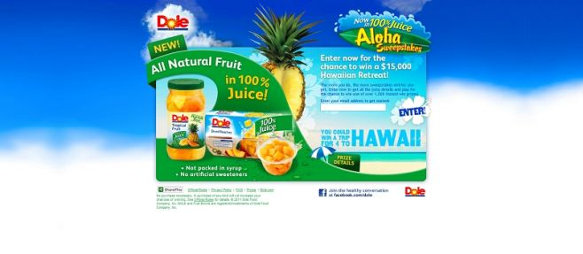 Dole Now in 100% Juice Aloha Sweepstakes
