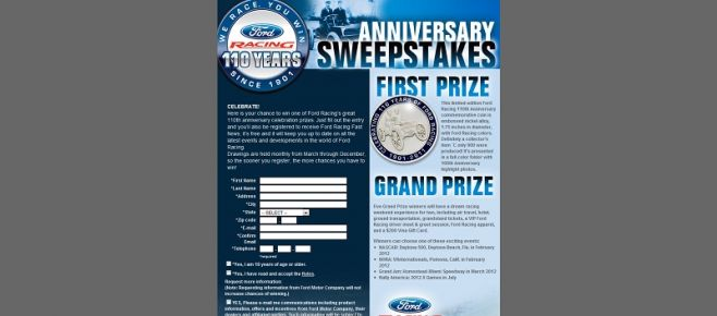 Ford Racing 110 Anniversary Sweepstakes