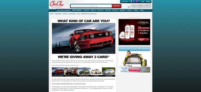 Win the Car That You Are Sweepstakes