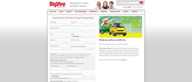 Hy-Vee, Inc.'s smart fortwo passion coupe Sweepstakes