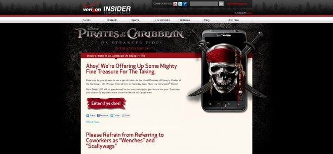 Verizon Disney's Pirates of the Caribbean: On Stranger Tides Movie Premiere Sweepstakes