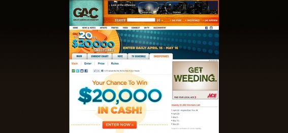 GAC's Top 20 for $20,000 Sweepstakes