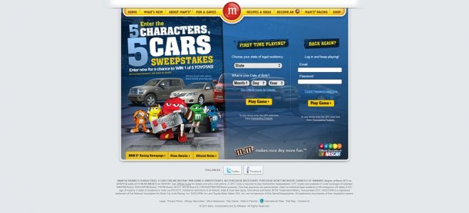 mms.com – M&M's Brand 5 Characters, 5 Cars Sweepstakes