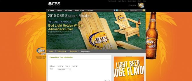 Bud Light Golden Wheat Adirondack Chair Giveaway Sweepstakes
