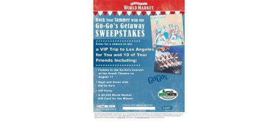 worldmarketsweepstakes.com – Cost Plus World Market Rock Your Summer With Our Go-Go's Getaway Sweepstakes