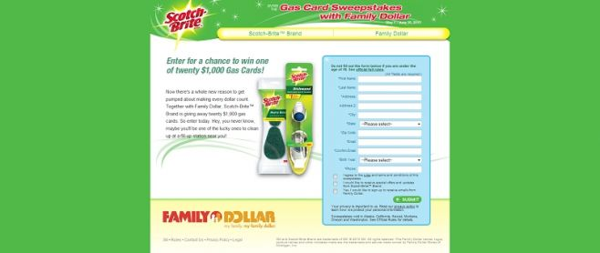 Family Dollar Gas Card Sweepstakes