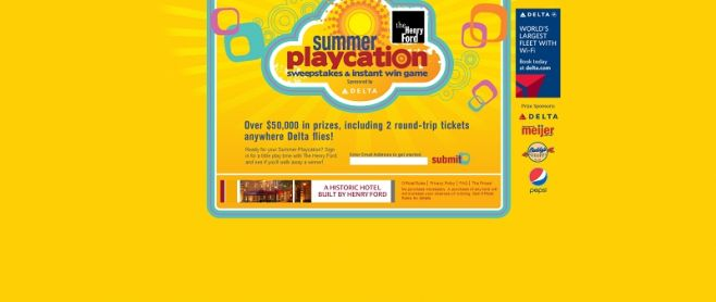 Henry Ford Summer Playcation Sweepstakes and Instant Win Game