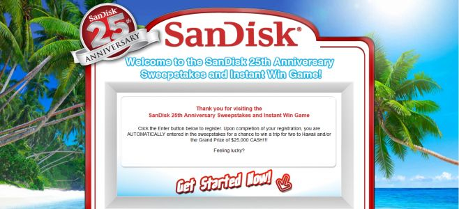 sandisk25th.com – SanDisk 25th Anniversary Sweepstakes & Instant Win Game