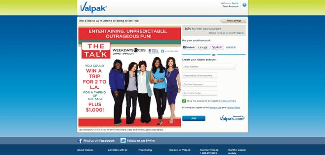 Valpak Win a Trip to The Talk Sweepstakes