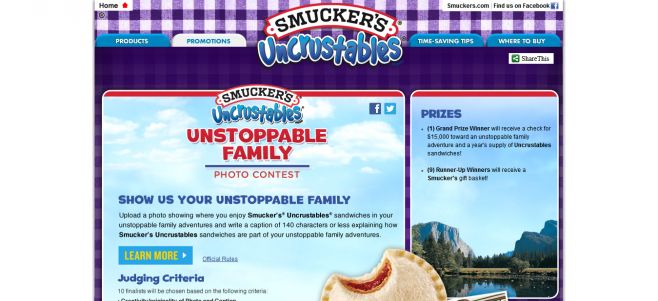Smucker's Uncrustables Unstoppable Family Photo Contest