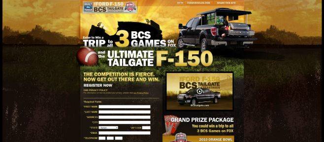 Ford F-150 BCS Tailgate Sweepstakes
