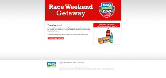 Fred's 250 Powered by Coca-Cola Sweepstakes