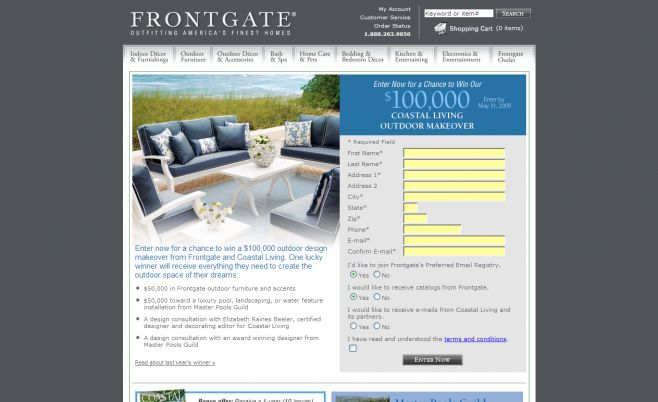 Frontgate Coastal Living Outdoor Makeover Sweepstakes