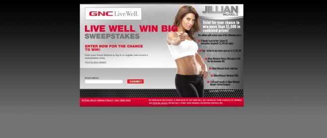 GNC Live Well, Win Big Sweepstakes