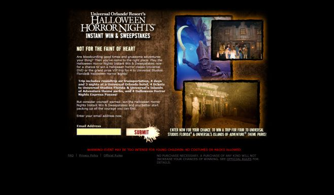 Universal Orlando Halloween Horror Nights Instant Win Game and Sweepstakes