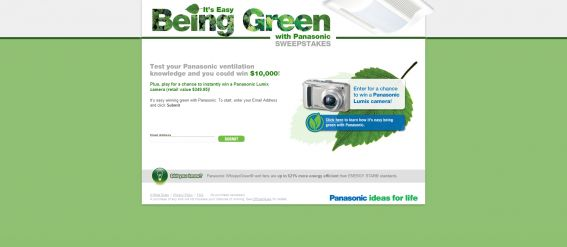 It's Easy Being Green with Panasonic Sweepstakes