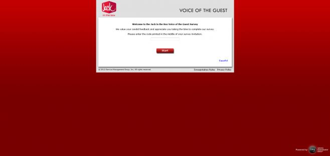 talktojackinthebox.com – Jack in the Box Voice of the Guest Survey Sweepstakes