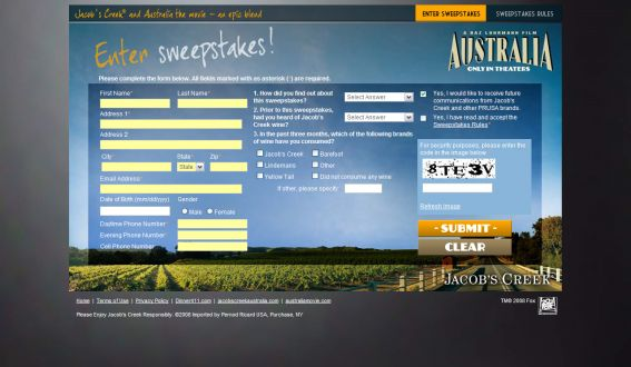 Jacob's Creek Australia Sweepstakes