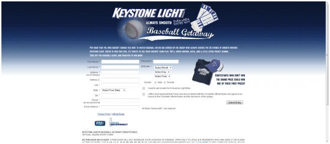Keystone Light Baseball Getaway Sweepstakes