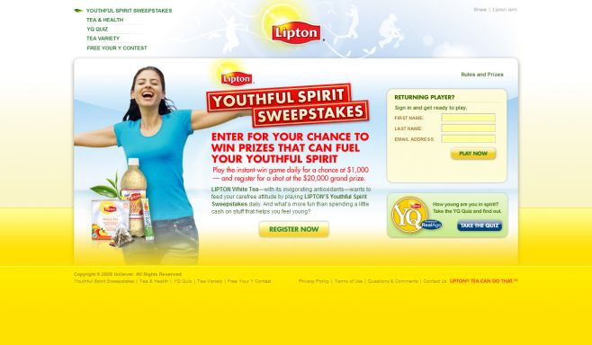 The Lipton White Tea Youthful Spirit Instant Win Game & Sweepstakes
