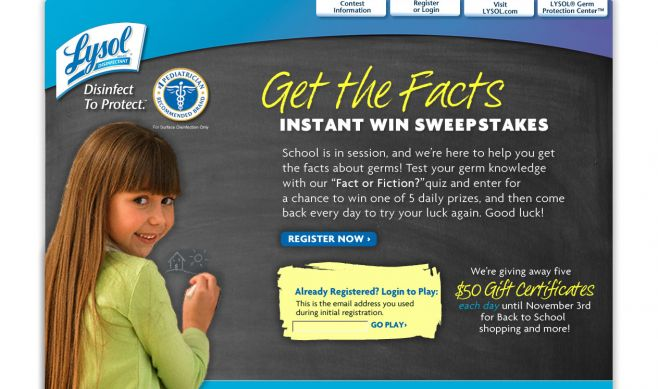 Lysol Get The Facts Instant Win Sweepstakes