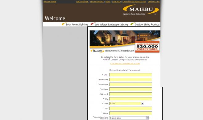 The Malibu Outdoor Living $20,000 Sweepstakes