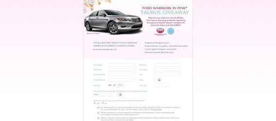 Martha Stewart Ford Warriors in Pink Taurus Giveaway