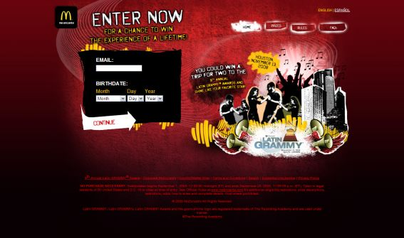 McDonald's 2008 Latin GRAMMY Awards Sweepstakes