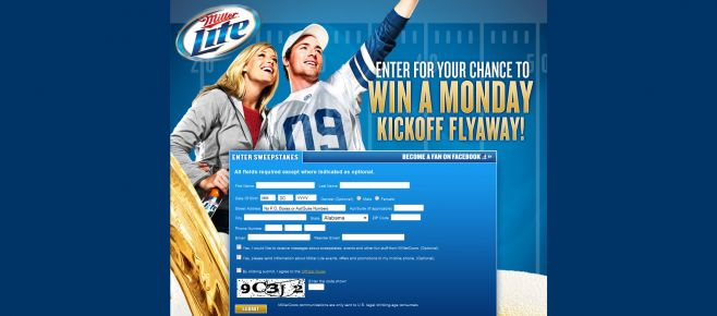 Miller Lite Monday Kickoff Fly-Away Sweepstakes