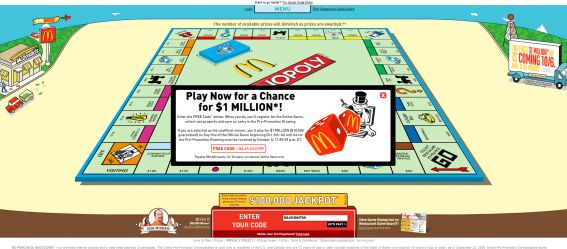 2009 Monopoly Game at McDonald's