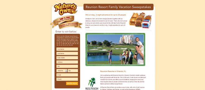 Nature's Own Ultimate Family Reunion Sweepstakes