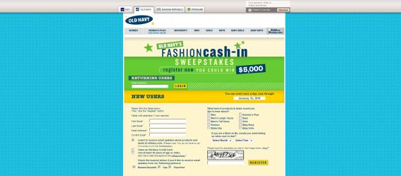 Old Navy's Fashion Cash-in Sweepstakes