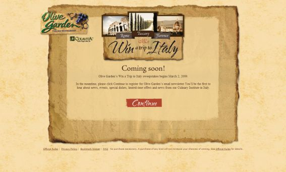 Olive Garden's 2009 Win a Trip to Italy Sweepstakes