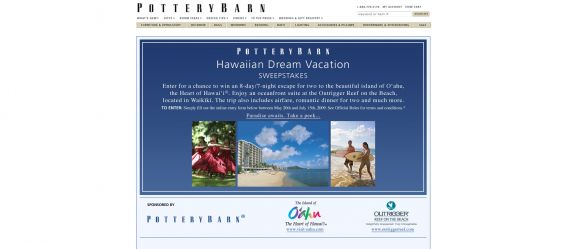 Pottery Barn Hawaiian Dream Vacation Sweepstakes