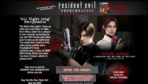 Resident Evil Degeneration: All Night Long Sweepstakes