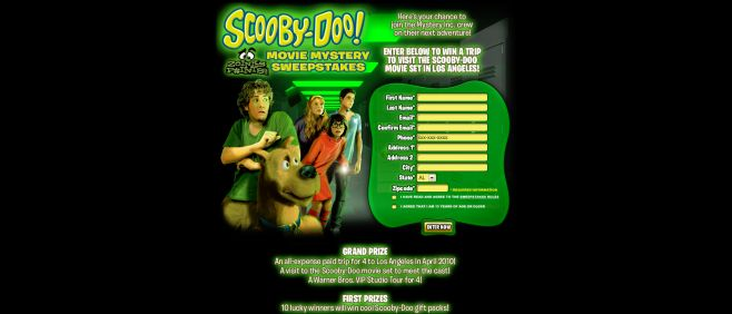 Scooby-Doo Movie Mystery Sweepstakes