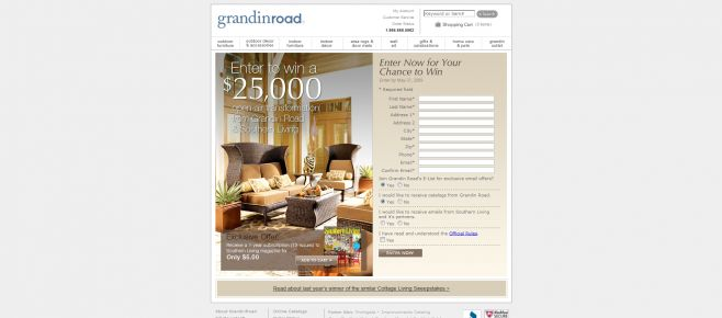 Grandin Road Southern Living Sweepstakes