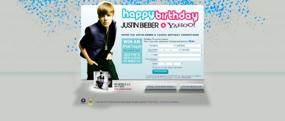 Justin Bieber Yahoo! Birthday Sweepstakes
